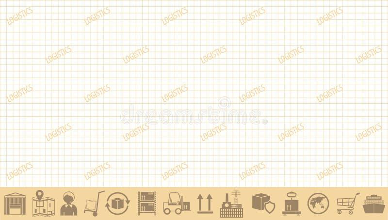 Глобальная концепция сети снабжения Vector шаблон знамени с значками снабжения и космосом текста иллюстрация вектора