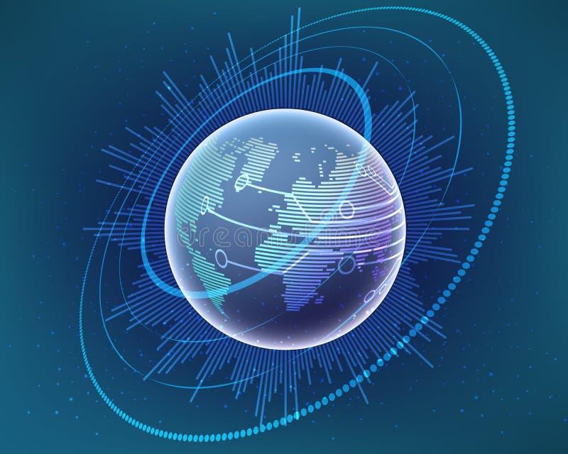 Глобальная линия жулик кибер карты мира сети преобразования bigdata иллюстрация штока