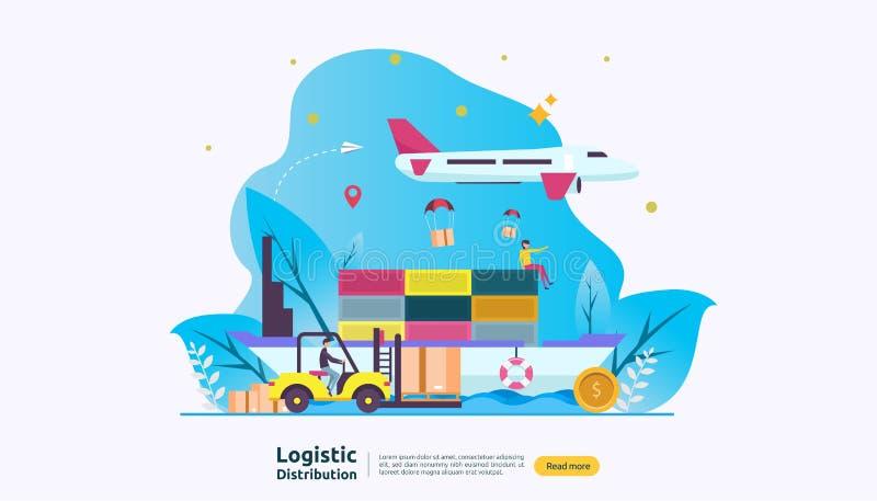 глобальная логистическая концепция иллюстрации сервиса по распределению знамя доставки экспорта импорта доставки всемирное с хара иллюстрация вектора