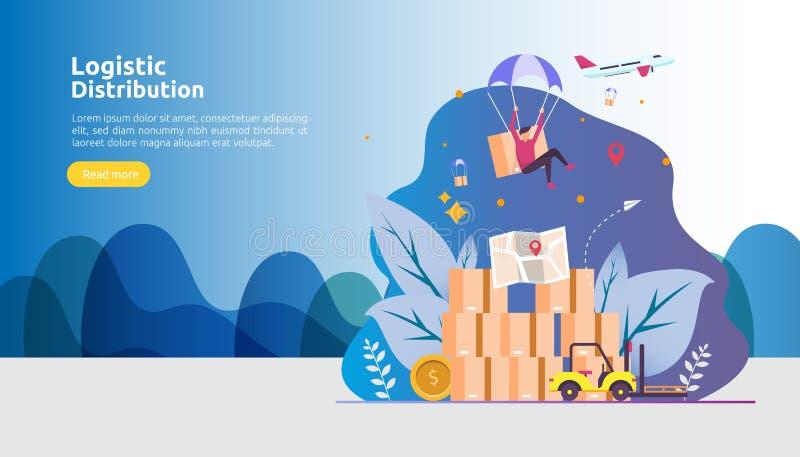 глобальная логистическая концепция иллюстрации сервиса по распределению знамя доставки экспорта импорта доставки всемирное с хара иллюстрация штока
