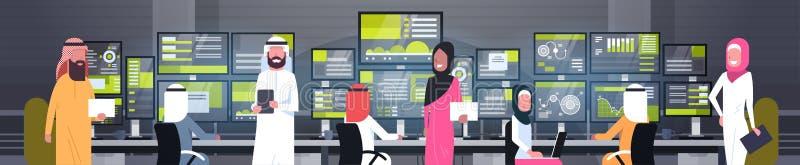 Глобальная онлайн торгуя группа людей концепции арабская работая с знаменем продаж контроля фондовой биржи горизонтальным иллюстрация вектора