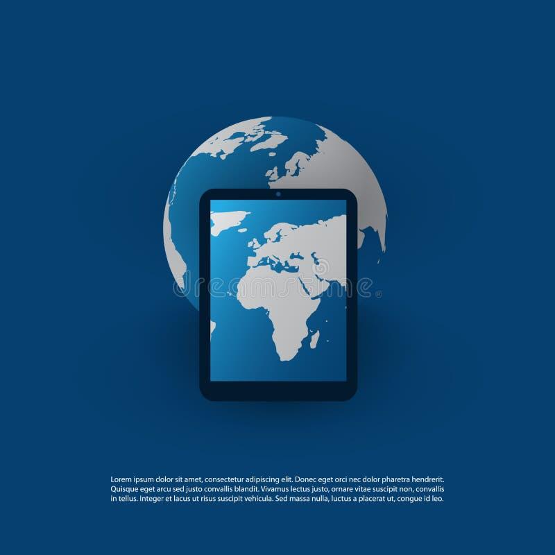 Глобальная передвижная технология, ИТ, сети, социальный дизайн концепции средств массовой информации иллюстрация вектора