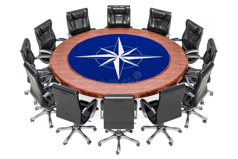 Глобальная политическая встреча концепции союзничества, перевода 3D иллюстрация штока