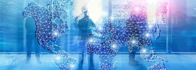 Глобальная сеть двойной экспозиции карты мира Радиосвязь, международный интернет дела и концепция технологии иллюстрация вектора
