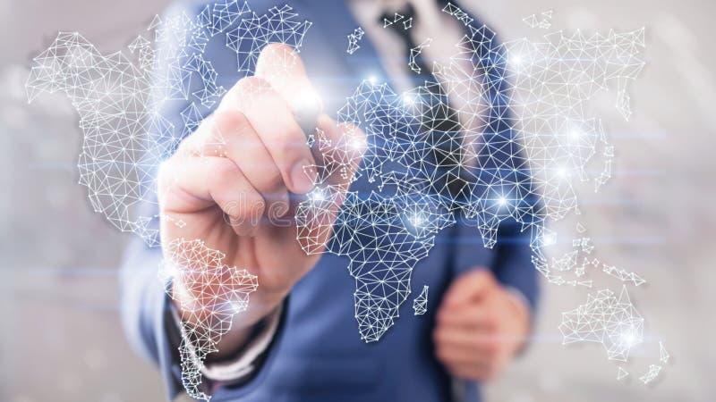 Глобальная сеть двойной экспозиции карты мира Радиосвязь, международный интернет дела и концепция технологии стоковое изображение