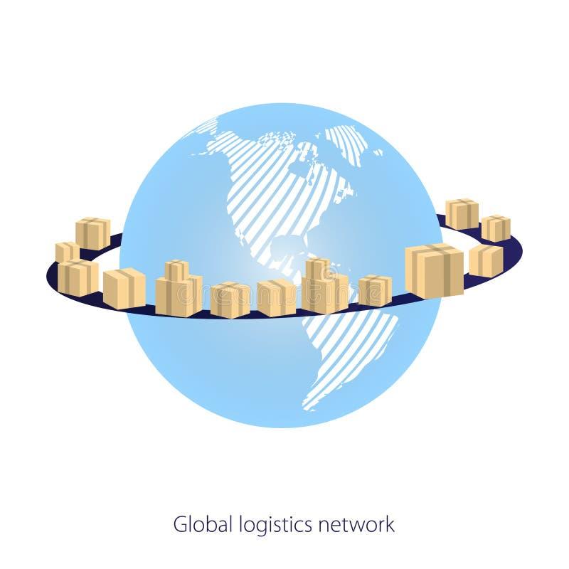 Глобальная сеть снабжения Заройте глобус окруженный картонными коробками с товарами пакета на белой предпосылке Снабжение карты г бесплатная иллюстрация