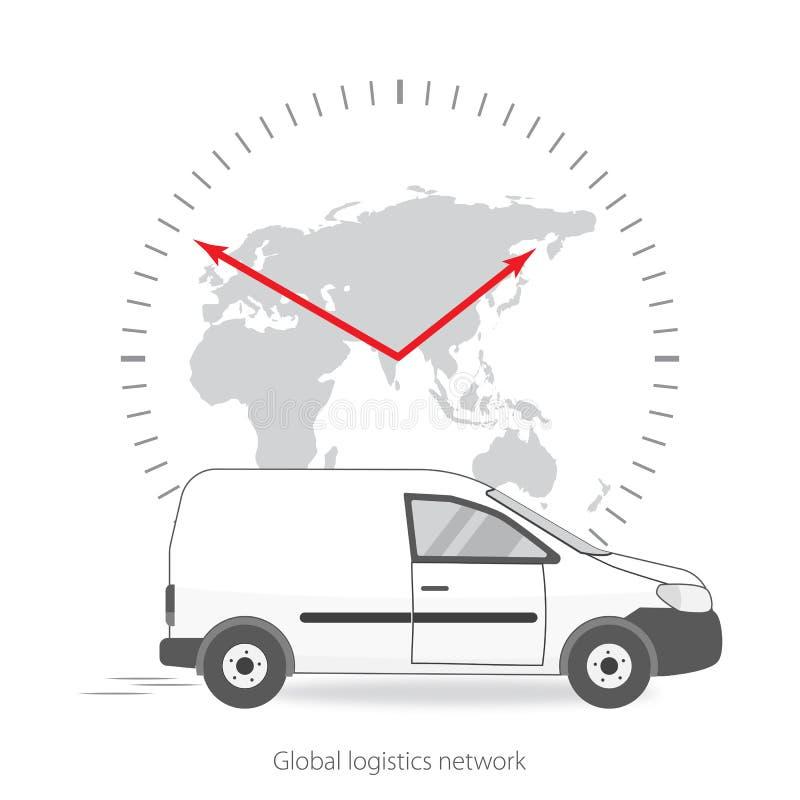 Глобальная сеть снабжения поставка принципиальной схемы всемирная Автомобиль для поставки груза и вахта с картой мира в сером цве иллюстрация штока