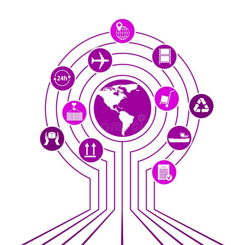 Глобальная сеть снабжения Соединение партнерства снабжения карты глобальное Белые подобные значки карты и снабжения мира иллюстрация штока