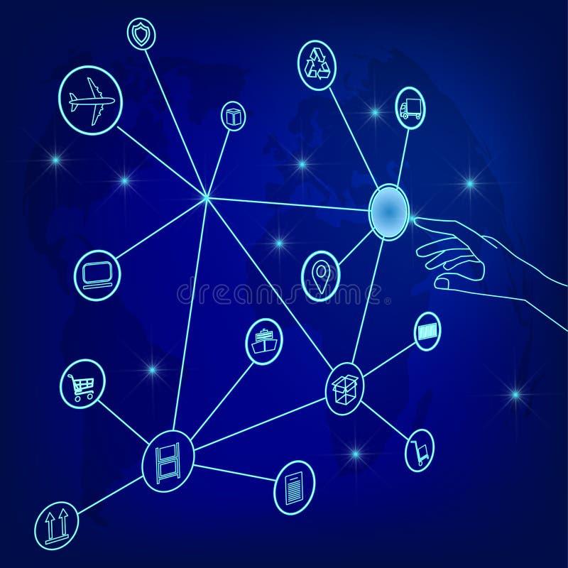 Глобальная сеть снабжения Соединение партнерства снабжения карты глобальное Человек делает заказом онлайн всемирное иллюстрация штока