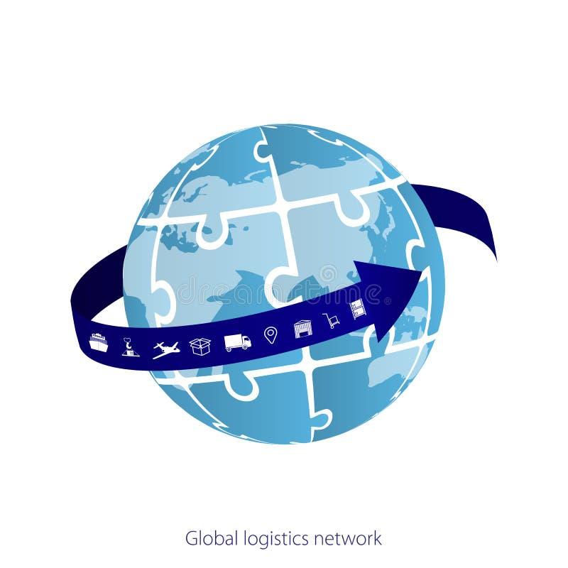 Глобальная сеть снабжения Соединение партнерства снабжения карты глобальное Белые подобные значки карты и снабжения мира Головоло иллюстрация вектора