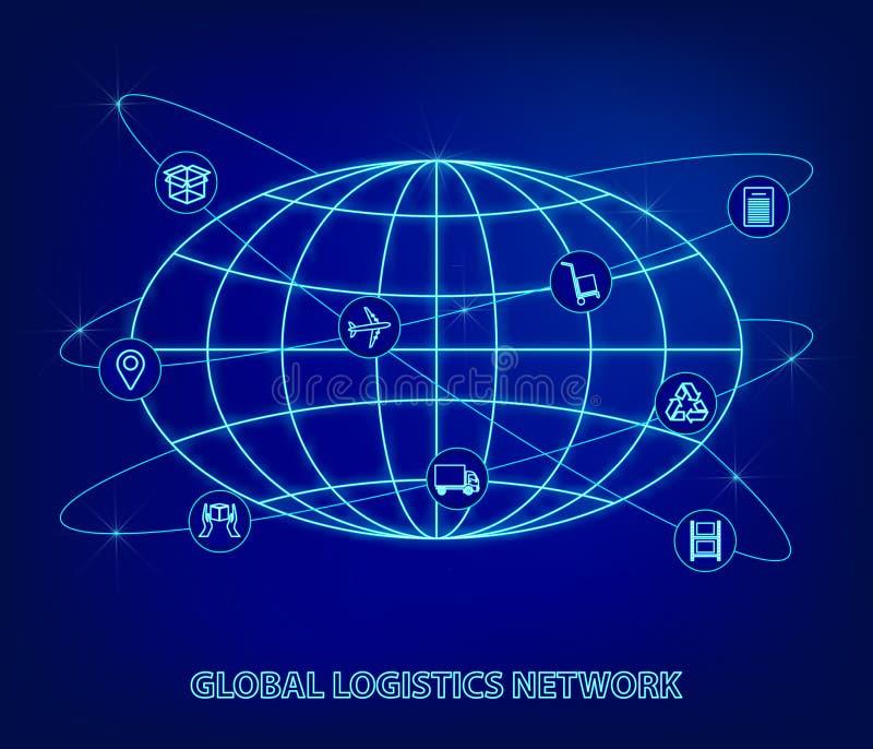 Глобальная сеть снабжения Соединение партнерства снабжения карты глобальное Значки глобуса и снабжения в форме спутников в неоне иллюстрация штока