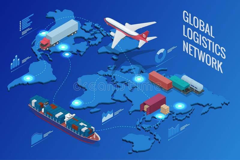 Глобальная сеть снабжения иллюстрация вектора