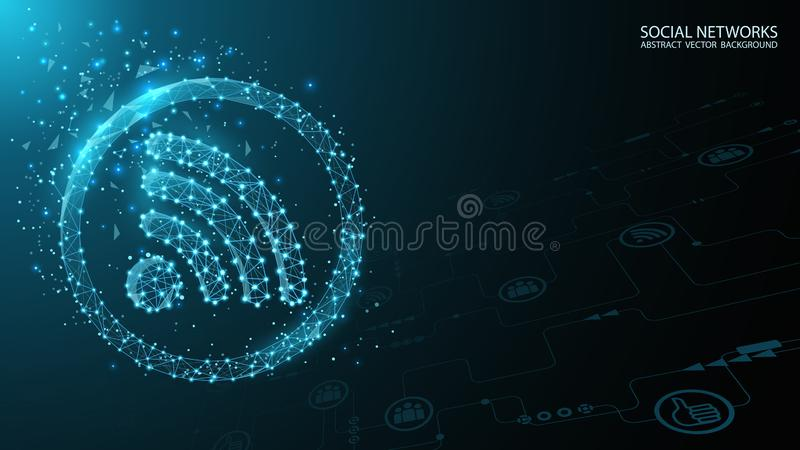 Глобальная социальная сеть Значок болтовни интернета Будущее r Голубая полигональная футуристическая предпосылка Интернет и техно бесплатная иллюстрация