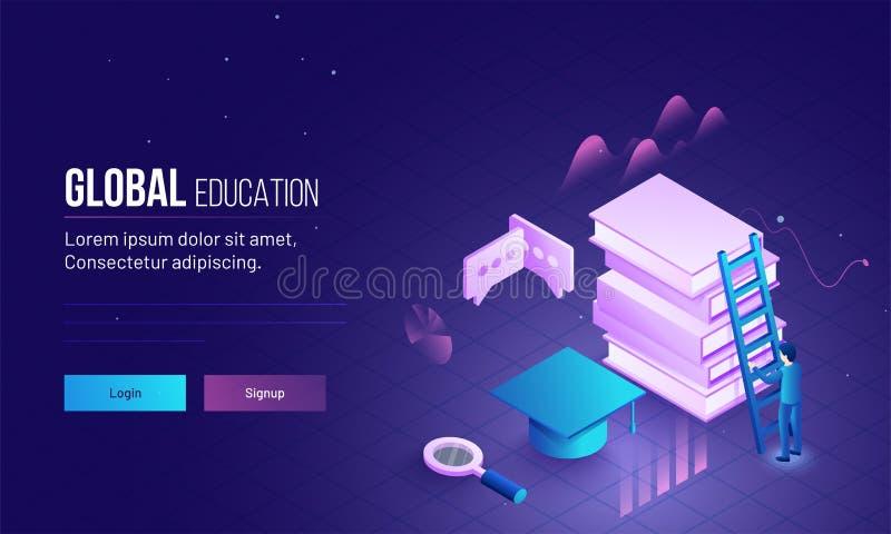Глобальное изображение страницы или героя посадки образования с иллюстрацией 3D бесплатная иллюстрация