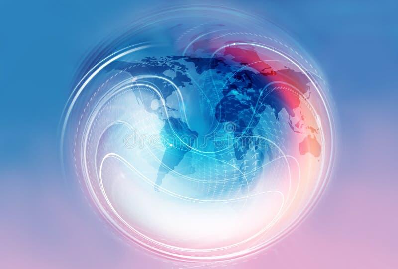 Глобальное перемещение и торгуя предпосылка с направлениями и авиакомпанией иллюстрация штока