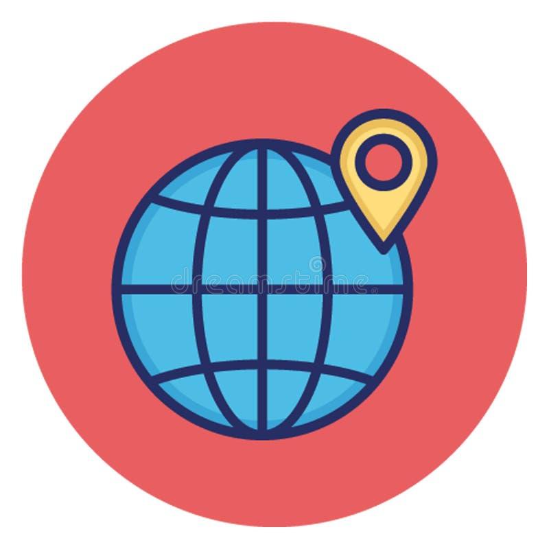 Глобальное положение, глобальный располагая значок вектора землеведения который может легко редактировать иллюстрация штока