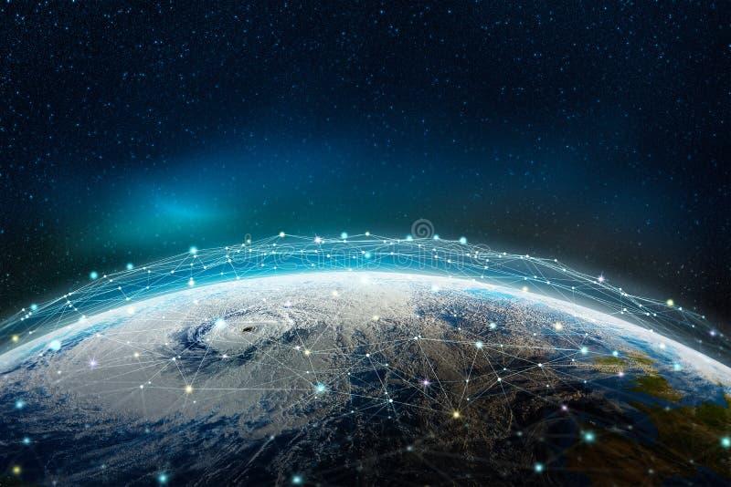 Глобальное социальное, информационная сеть через планету иллюстрация штока