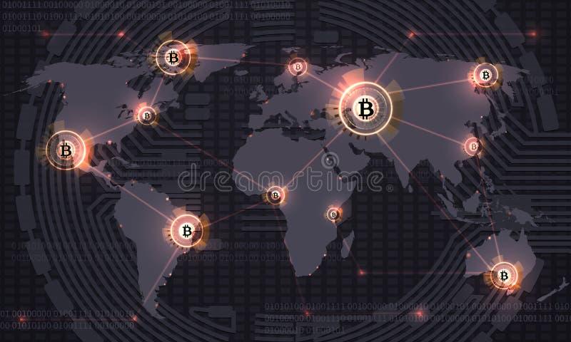 Глобальное bitcoin Секретная технология blockchain валюты и карта мира Секретная предпосылка конспекта вектора торговлей валюты иллюстрация вектора