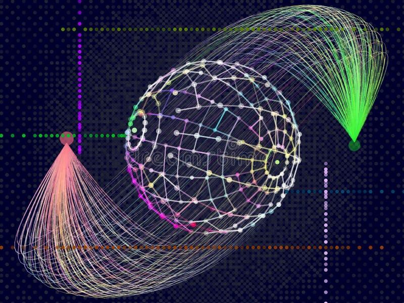 Глобальные большие данные Абстрактная красочная информация сортируя visualiza иллюстрация вектора