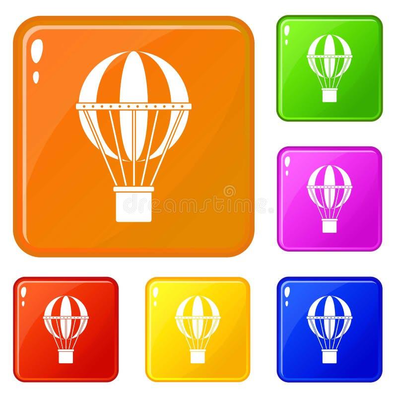 Глобальные значки концепции перемещения установили цвет вектора иллюстрация вектора