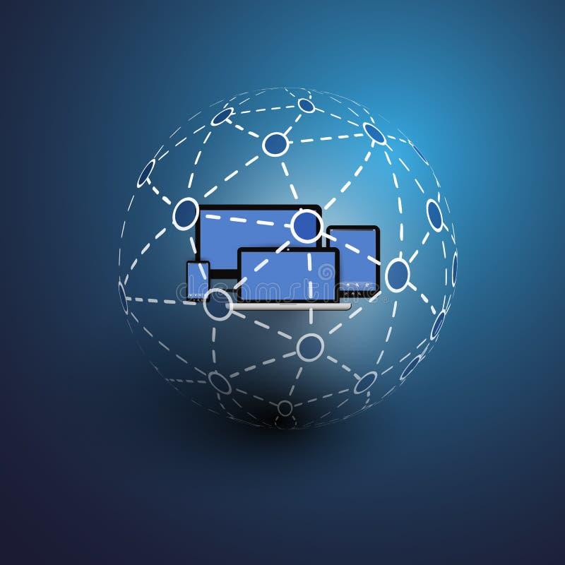 Глобальные или социальные сети - вектор EPS10 для вашего дела иллюстрация штока
