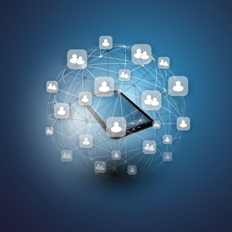 Глобальные или социальные сети - дизайн вектора EPS10 для вашего дела иллюстрация штока