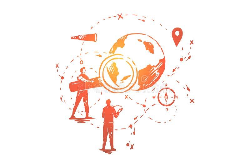 Глобальный анализ данных, исследование seo, развитие системы навигации, стратегия экономического подъема людей планируя иллюстрация вектора