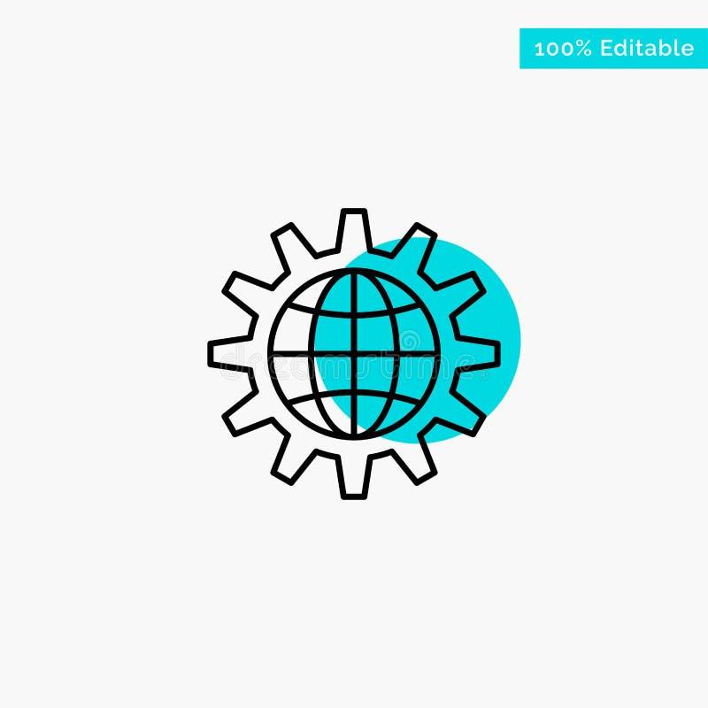 Глобальный, дело, превратитесь, развитие, шестерня, работа, значок вектора пункта круга самого интересного бирюзы мира иллюстрация штока