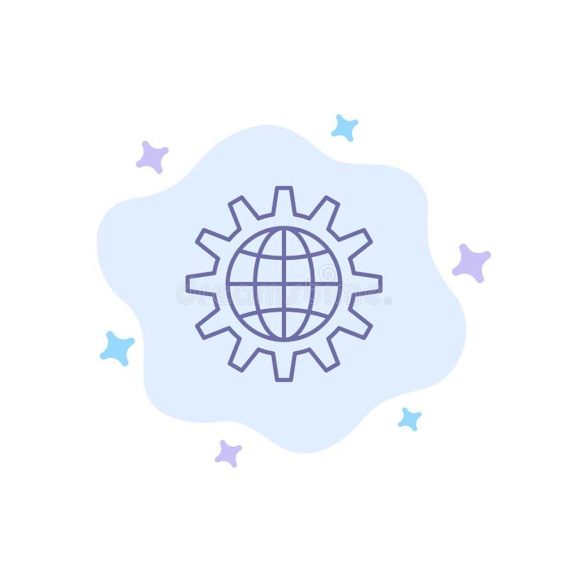 Глобальный, дело, превратитесь, развитие, шестерня, работа, значок мира голубой на абстрактной предпосылке облака иллюстрация вектора