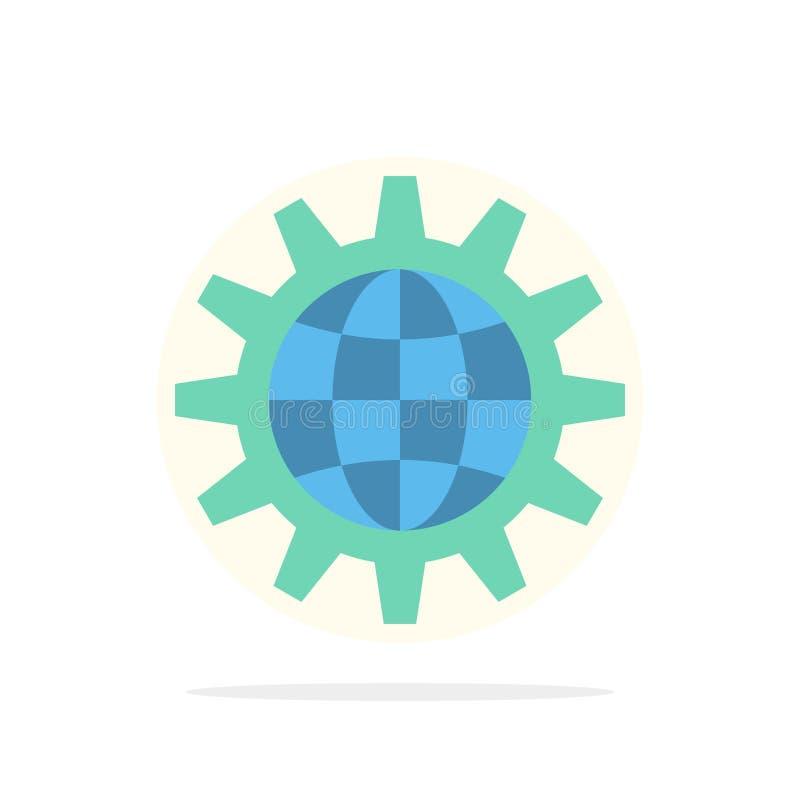 Глобальный, дело, превратитесь, развитие, шестерня, работа, значок цвета предпосылки круга конспекта мира плоский иллюстрация вектора