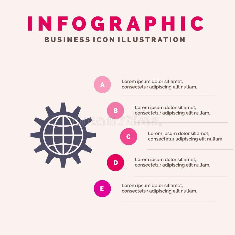 Глобальный, дело, превратитесь, развитие, шестерня, работа, предпосылка представления шагов Infographics 5 значка мира твердая иллюстрация вектора