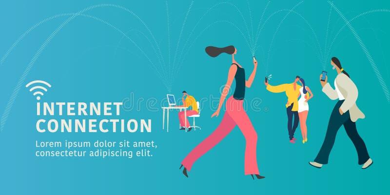 Глобальный доступ в интернет и иллюстрация современной концепции вектора людей плоская, знамя иллюстрация штока