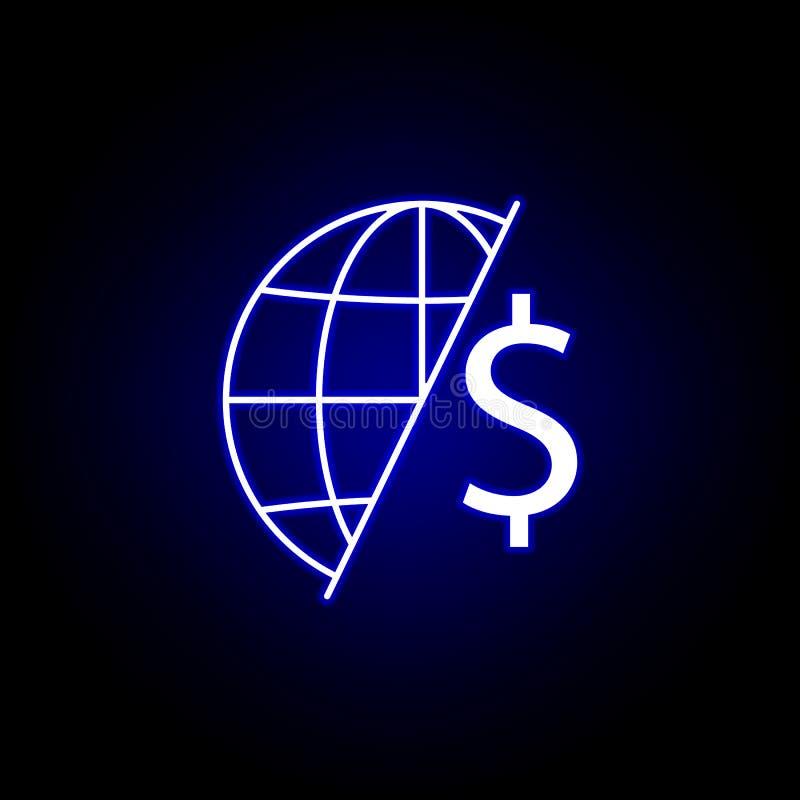 глобальный значок доллара мира в неоновом стиле Элемент иллюстрации финансов Знаки и значок символов можно использовать для сети, бесплатная иллюстрация
