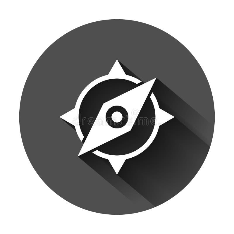 Глобальный значок навигации в плоском стиле Иллюстрация вектора gps компаса на черной круглой предпосылке с длинной тенью Положен иллюстрация вектора