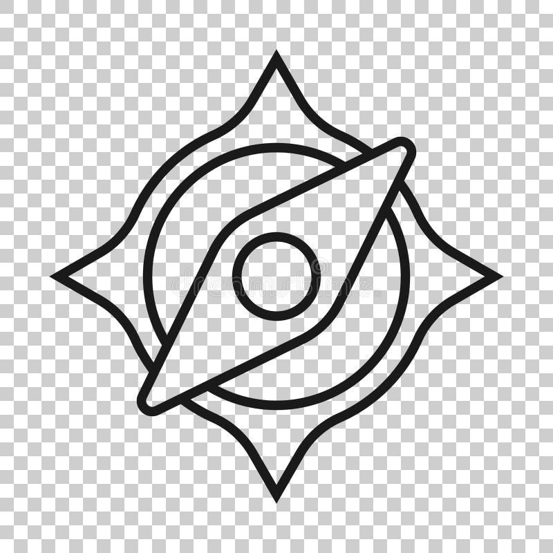 Глобальный значок навигации в прозрачном стиле Иллюстрация вектора gps компаса на изолированной предпосылке Дело открытия положен иллюстрация штока