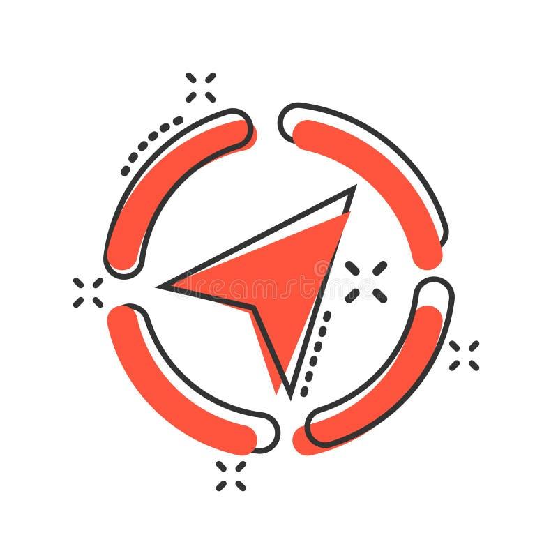 Глобальный значок навигации в шуточном стиле Иллюстрация мультфильма вектора gps компаса на белой изолированной предпосылке Откры бесплатная иллюстрация