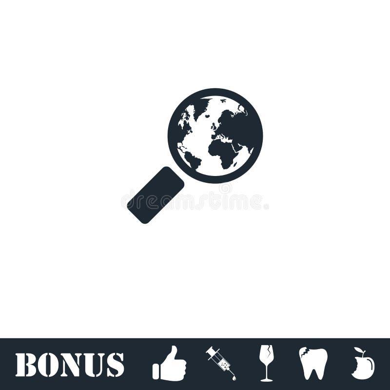 Глобальный значок поиска плоско иллюстрация штока