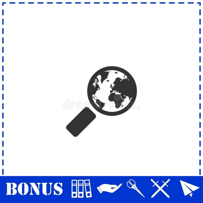 Глобальный значок поиска плоско бесплатная иллюстрация