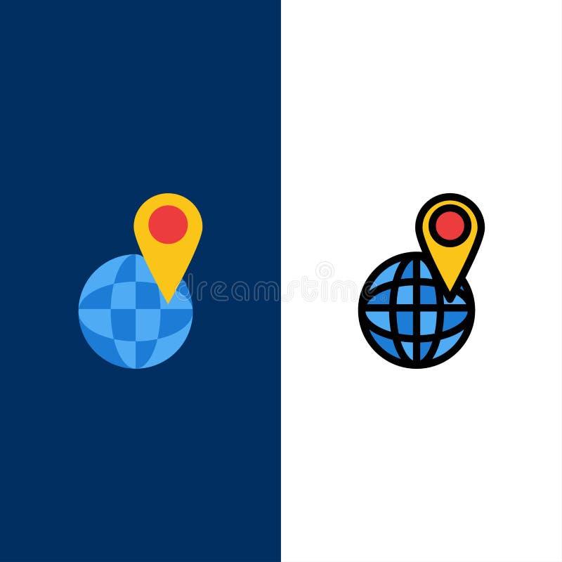 Глобальный, положение, карта, значки мира Квартира и линия заполненный значок установили предпосылку вектора голубую бесплатная иллюстрация