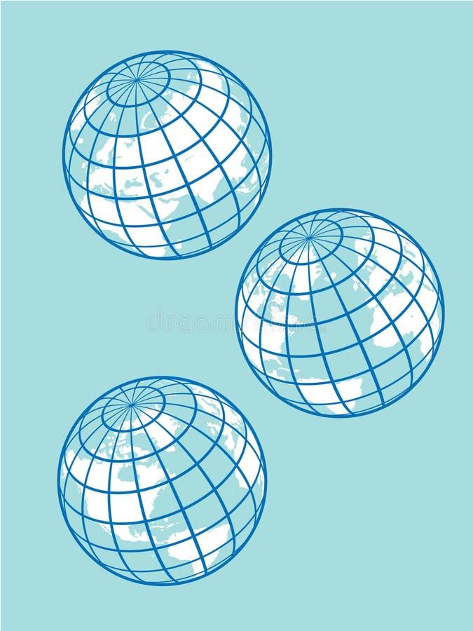 глобусы ретро иллюстрация вектора