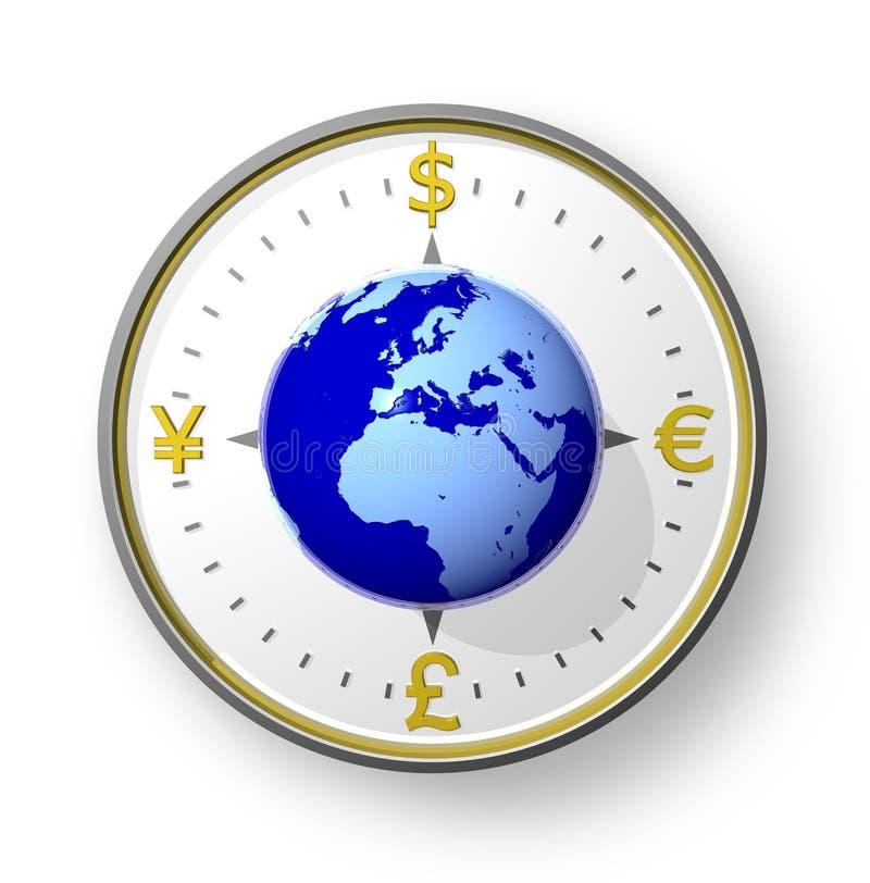 глобус валюты компаса иллюстрация штока