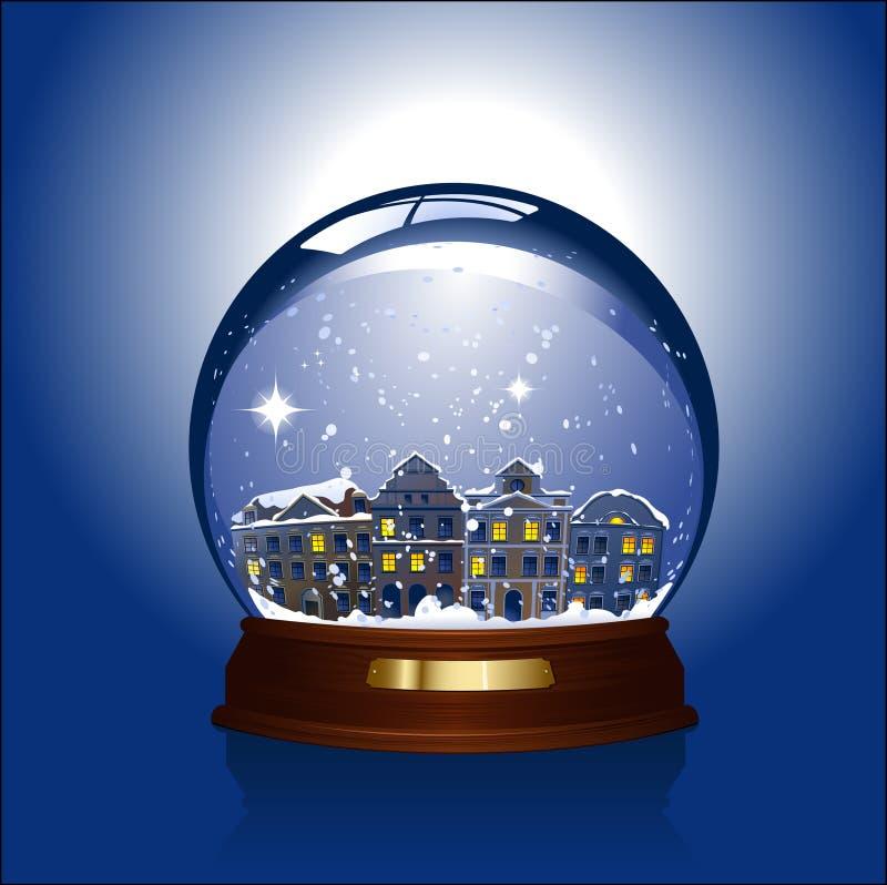 глобус внутри городка снежка иллюстрация штока