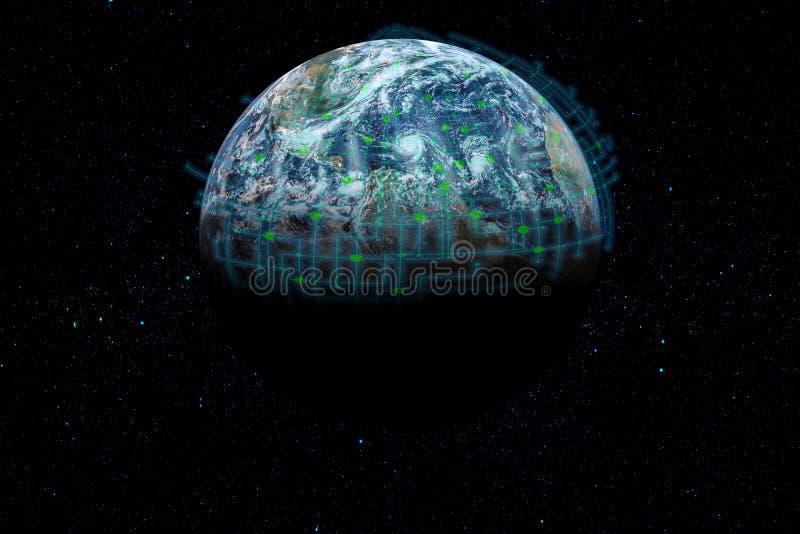 Глобус в космосе половина предусматриванная сетью стоковое фото rf