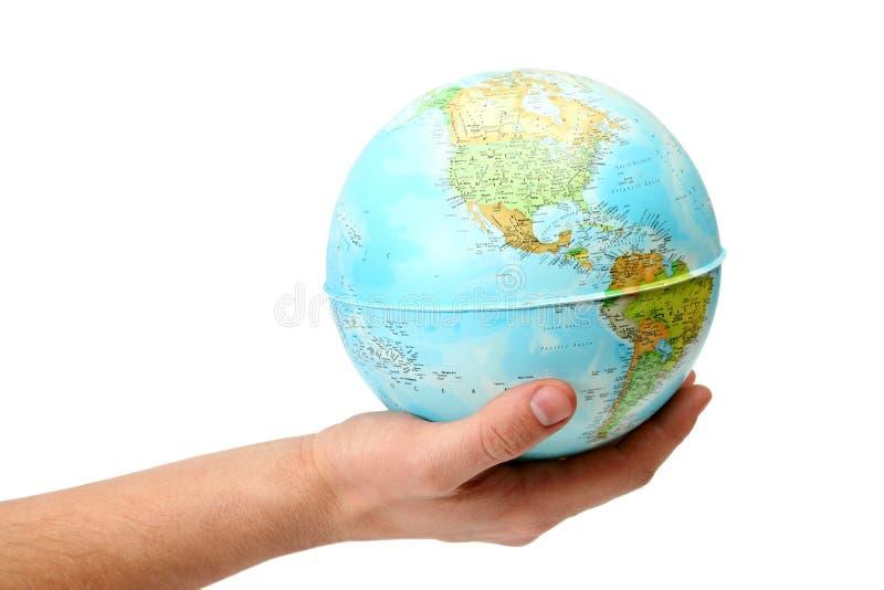 Глобус в руке стоковые изображения rf