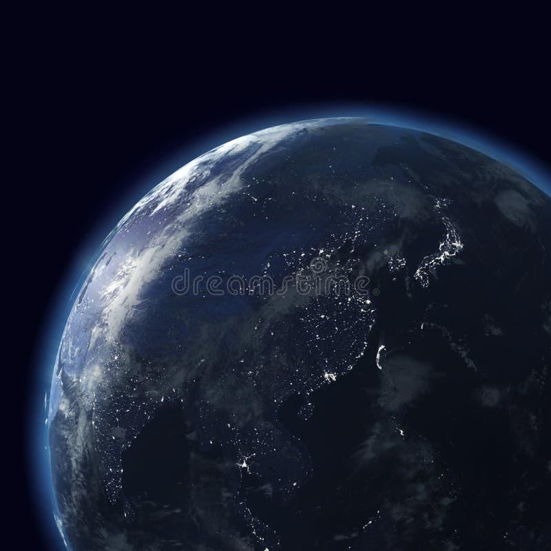 глобус города восточный освещает ночу стоковые изображения