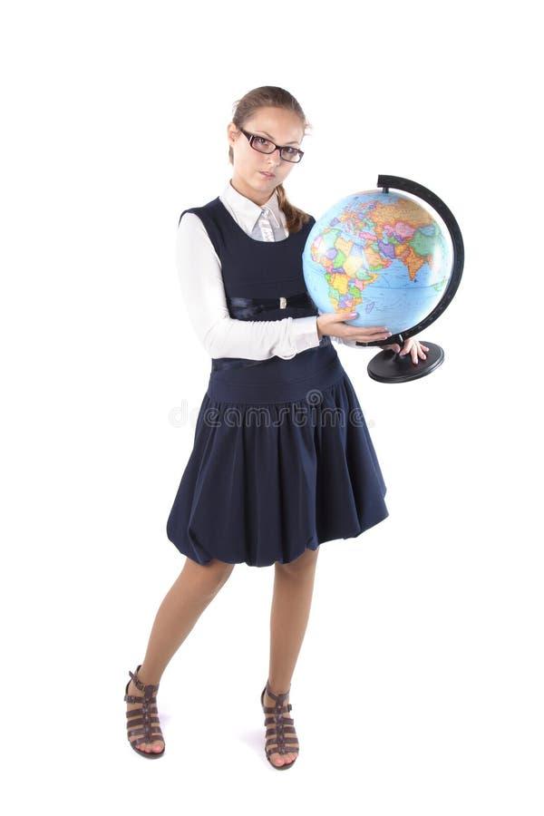 глобус девушки стоковое изображение