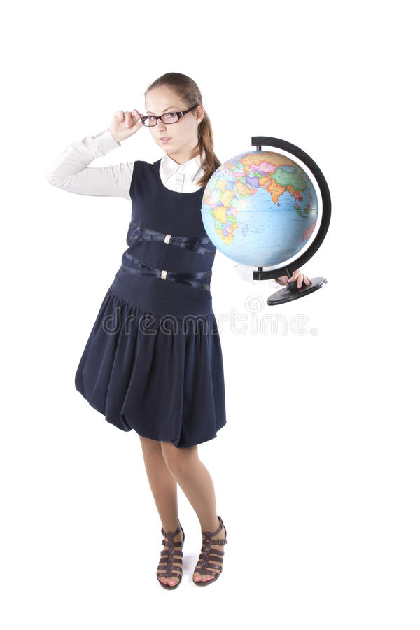 глобус девушки стоковые изображения