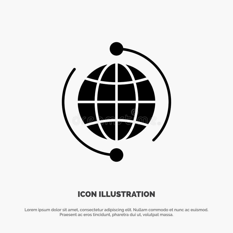 Глобус, дело, соединяется, соединение, глобальное, интернет, вектор значка глифа мира твердый иллюстрация вектора