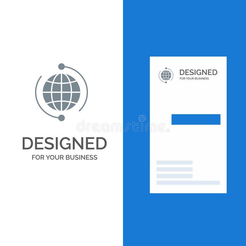 Глобус, дело, соединяется, соединение, глобальное, интернет, дизайн логотипа мира серые и шаблон визитной карточки бесплатная иллюстрация