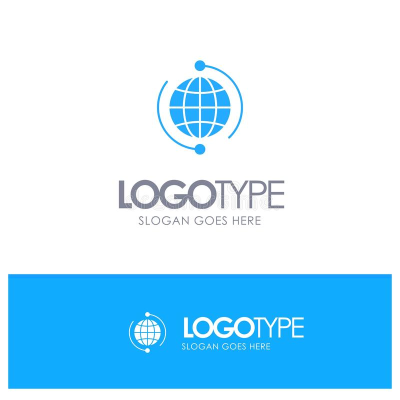 Глобус, дело, соединяется, соединение, глобальное, интернет, логотип мира голубой твердый с местом для слогана иллюстрация вектора